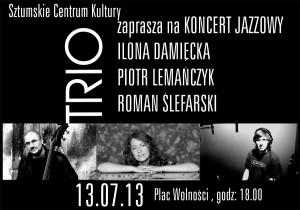 koncert jazzowy Damięcka - Lemańczyk - Ślefarski TRIO plakat